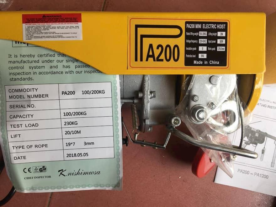 máy tời điện 200kg